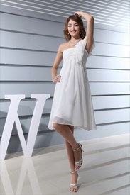 Ivory Empire Waist Chiffon Wedding Dress, Short Ivory Graduation Dress
