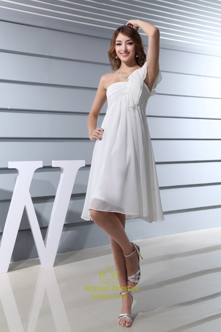 Ivory Empire Waist Chiffon Wedding Dress Short Ivory