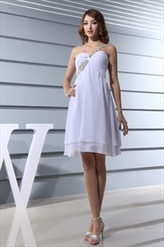 One Shoulder White Homecoming Dress,Empire Waist Chiffon Cocktail Gown