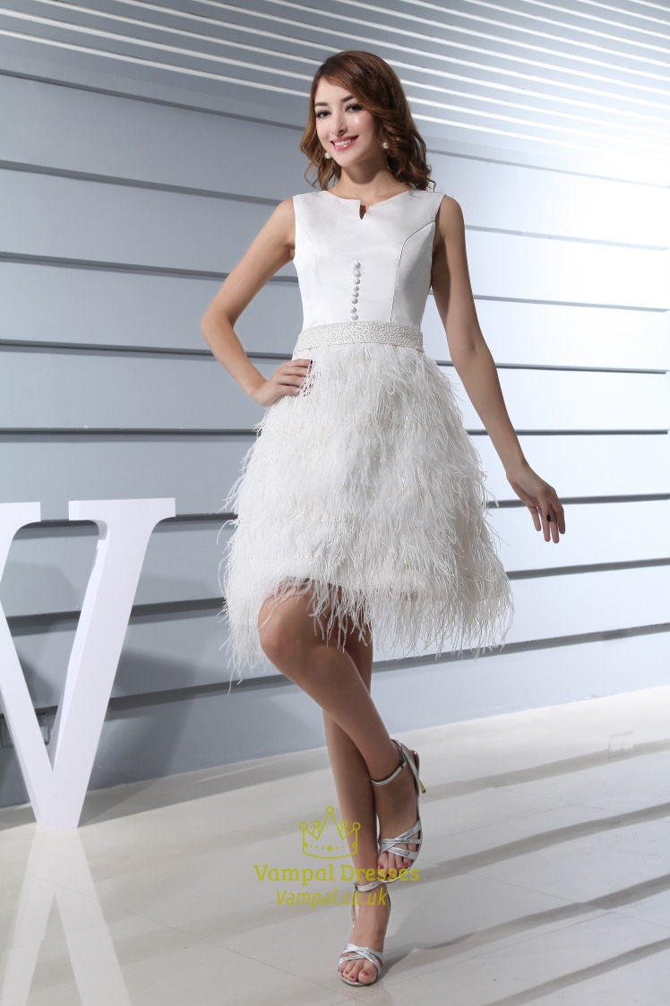 Short White Wedding Dress With Feathers, Short White Feather Prom ...