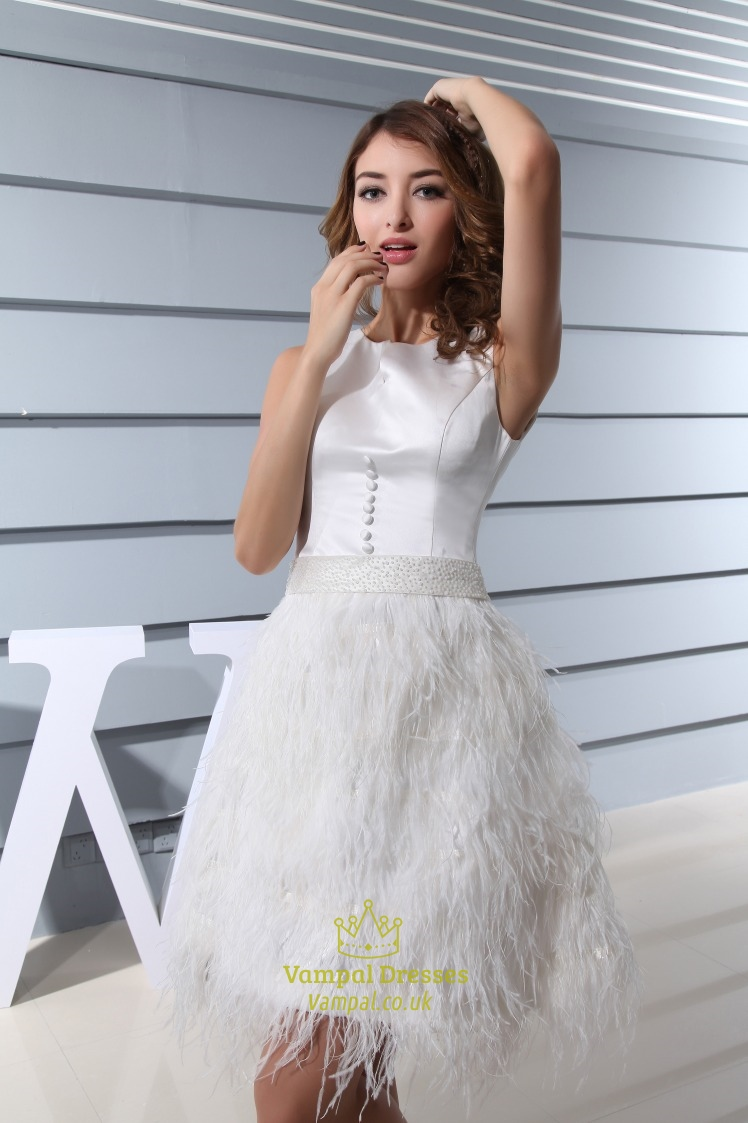 Short White Wedding Dress With Feathers Short White Feather Prom Gown Vamp