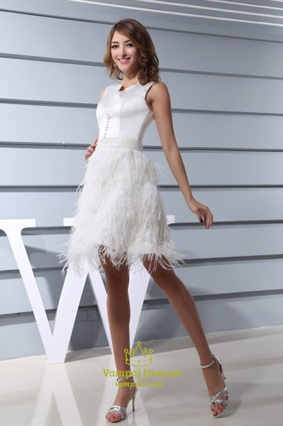 Short White Wedding Dress With Feathers, Short White Feather Prom Gown