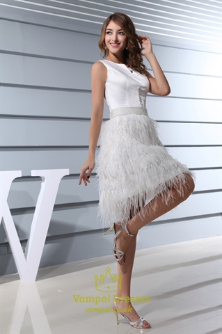 Short White Wedding Dress With Feathers Short White