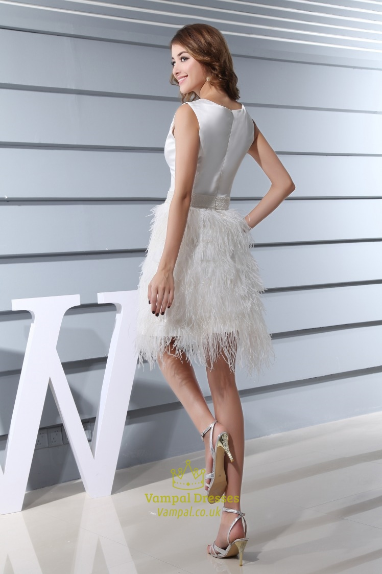 Short White Feather Wedding Dresses | Wedding