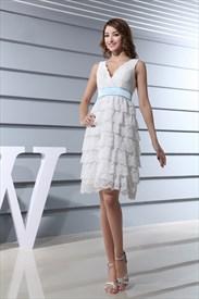 White Lace Wedding Dress With Sash, Short Lace V Neck Wedding Dress