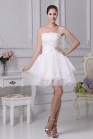 Short Strapless Lace Wedding Dress, White Dresses For Informal Wedding