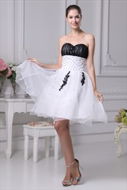White And Black Short Prom Dresses, White Wedding Dresses With Black
