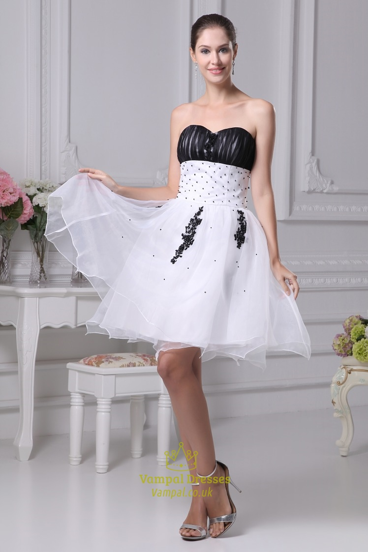 White And Black Short Prom Dresses, White Wedding Dresses With Black ...