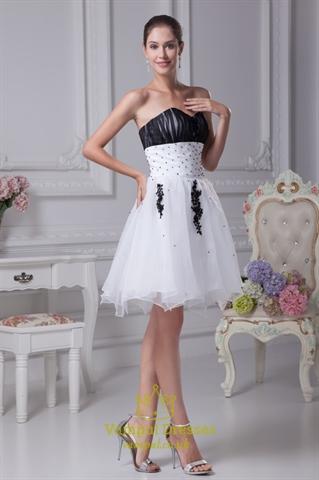 White And Black Short Prom Dresses, White Wedding Dresses With Black ...