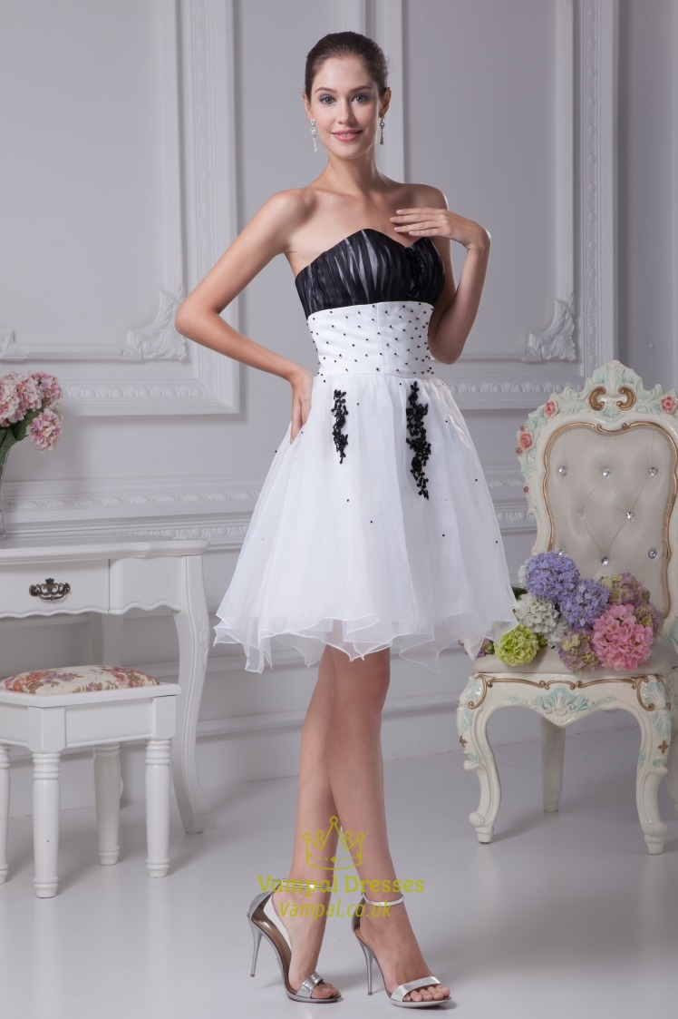 White and black short prom dresses white wedding dresses for White wedding dress with black accents
