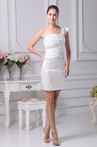 Ivory One Shoulder Cocktail Dress, Short Ruched Homecoming Dresses