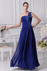 Royal Blue One Shoulder Prom Dress, One Shoulder Chiffon Evening Dress