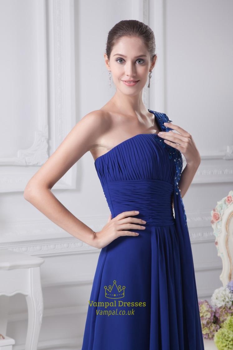 Royal Blue One Shoulder Prom Dress, One Shoulder Chiffon ...