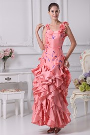 Tiered Ruffle Evening Dress, Pearl Pink Prom Dresses, Long Prom Gowns