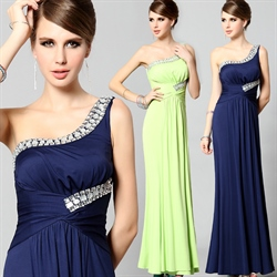 Sparkling Jewel Embellished One Shoulder Chiffon Prom Gown Formal Dress