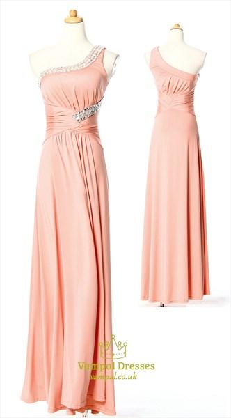 Sparkling Jewel Embellished One Shoulder Chiffon Prom Gown Formal Dress