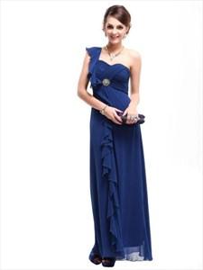 Chiffon One Shoulder Bridesmaid Dress, Royal Blue Bridesmaid Dresses