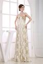 Gold Sequin Lace Dress,Gold Lace Sequin Evening Dress