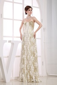 Gold Sequin Lace Dress,Gold Lace Sequin Evening Dress