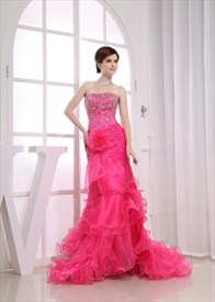 Strapless Organza Gown With Beaded Ruffle, Hot Pink Mermaid Prom Dress