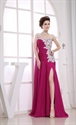 One Shoulder Applique Ruching Chiffon Prom Dress, Side Cut Prom Dress