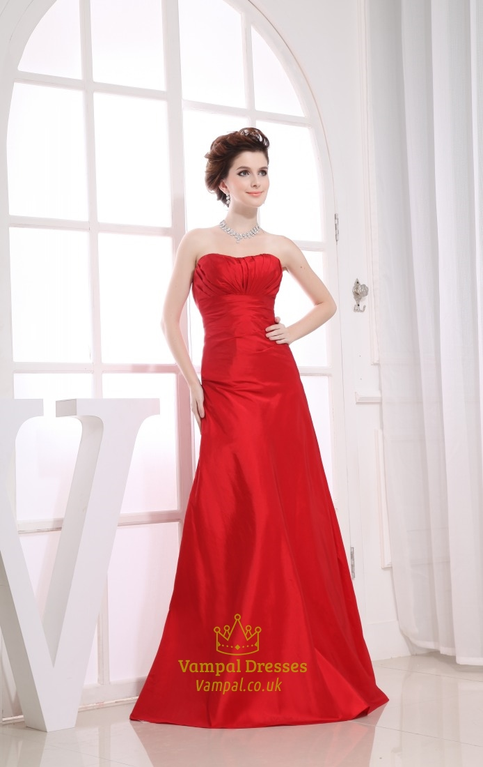 Long Red Bridesmaid Dresses Sweetheart Long Pleated