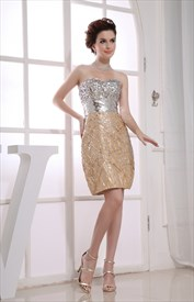 Gold And Silver Sequin Prom Dress, Short Gold Sequin Homecoming Dress