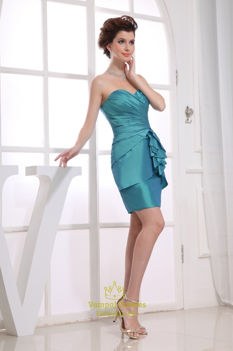 Teal Green Cocktail Dress, Strapless Sweetheart Short Prom Dress ...