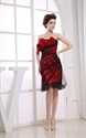 Short Red And Black Cocktail Dress, Short Prom Dresses With Flowers