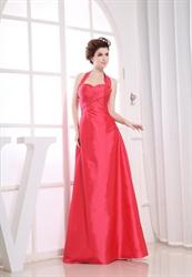Floor Length Halter Bridesmaid Dresses, Long Ruched Bridesmaid Dresses