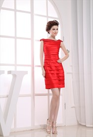 Short Pleated Satin Strapless Dress, Red Off The Shoulder Prom Dress