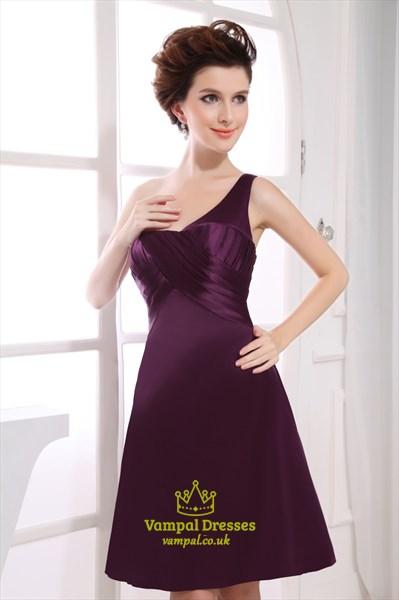 One Shoulder Empire Waist Cocktail Dress, Short Eggplant Prom Dresses