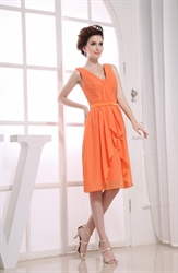 Orange Chiffon Cocktail Dresses, Short V Neck Bridesmaid Dresses