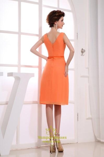 Orange Chiffon Cocktail Dresses, Short V Neck Bridesmaid Dresses