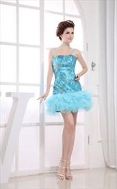 Aqua Blue Short Prom Dresses, Spaghetti Strap Sequin Cocktail Dresses