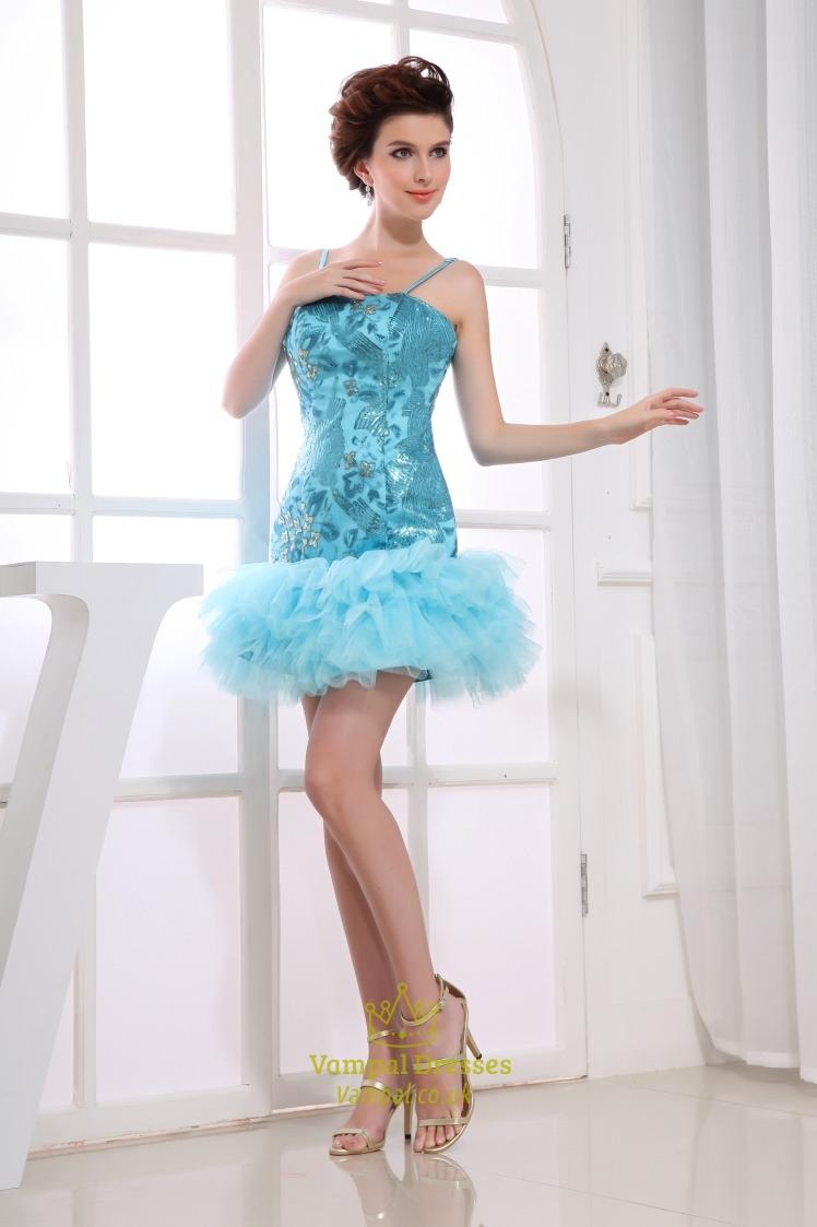 Aqua Blue Short Prom Dresses, Spaghetti Strap Sequin