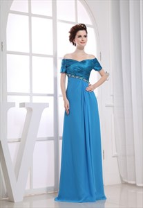 Empire Waist Chiffon Prom Dress, Off The Shoulder Mother Of The Bride
