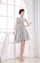 Short Grey Chiffon Bridesmaid Dresses, Short Pleated Homecoming Dress