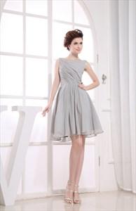 Short Grey Chiffon Bridesmaid Dresses, Short Pleated Homecoming Dress