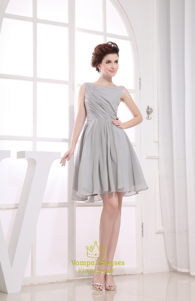 Short Grey Chiffon Bridesmaid Dresses Short Pleated