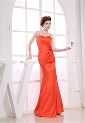 Orange Long Bridesmaid Dresses, Floor Length Mermaid Prom Dresses 2018