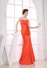 Orange Long Bridesmaid Dresses, Floor Length Mermaid Prom Dresses 2019