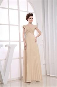 Champagne Chiffon Prom Dress, Long Chiffon Mother Of The Bride Dresses