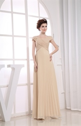 Champagne Chiffon Prom Dress, Long Chiffon Mother Of The Bride Dresses