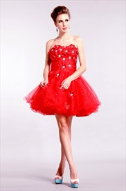 Red Strapless Homecoming Dresses, Short Red Prom Dresses For Sale