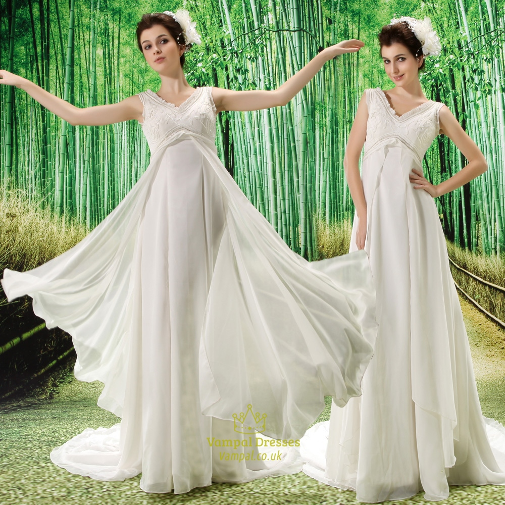 Ivory Empire Waist Chiffon Wedding Dress V Neck Chiffon