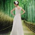 Ivory Empire Waist Chiffon Wedding Dress, V Neck Chiffon Wedding Dress