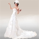 Strapless Wedding Dresses With Train, Tiered Strapless Wedding Dress