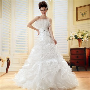 Layered Ruffle Wedding Dresses, Strapless Ball Gown Wedding Dress 2021