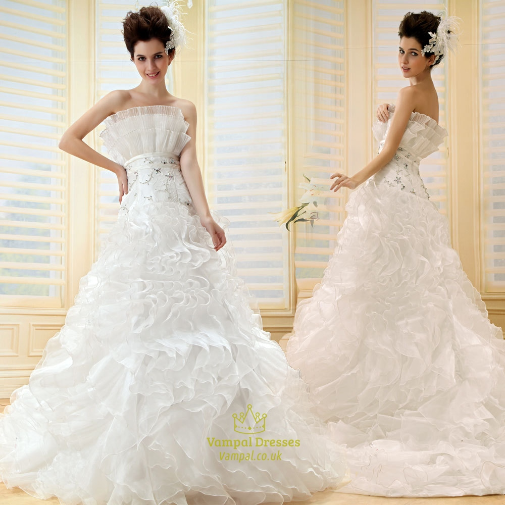 Layered Wedding Dresses : Layered ruffle wedding dresses strapless ball gown